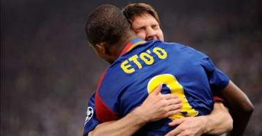 Eto'o hug Messi for 2nd Barcelona' goal